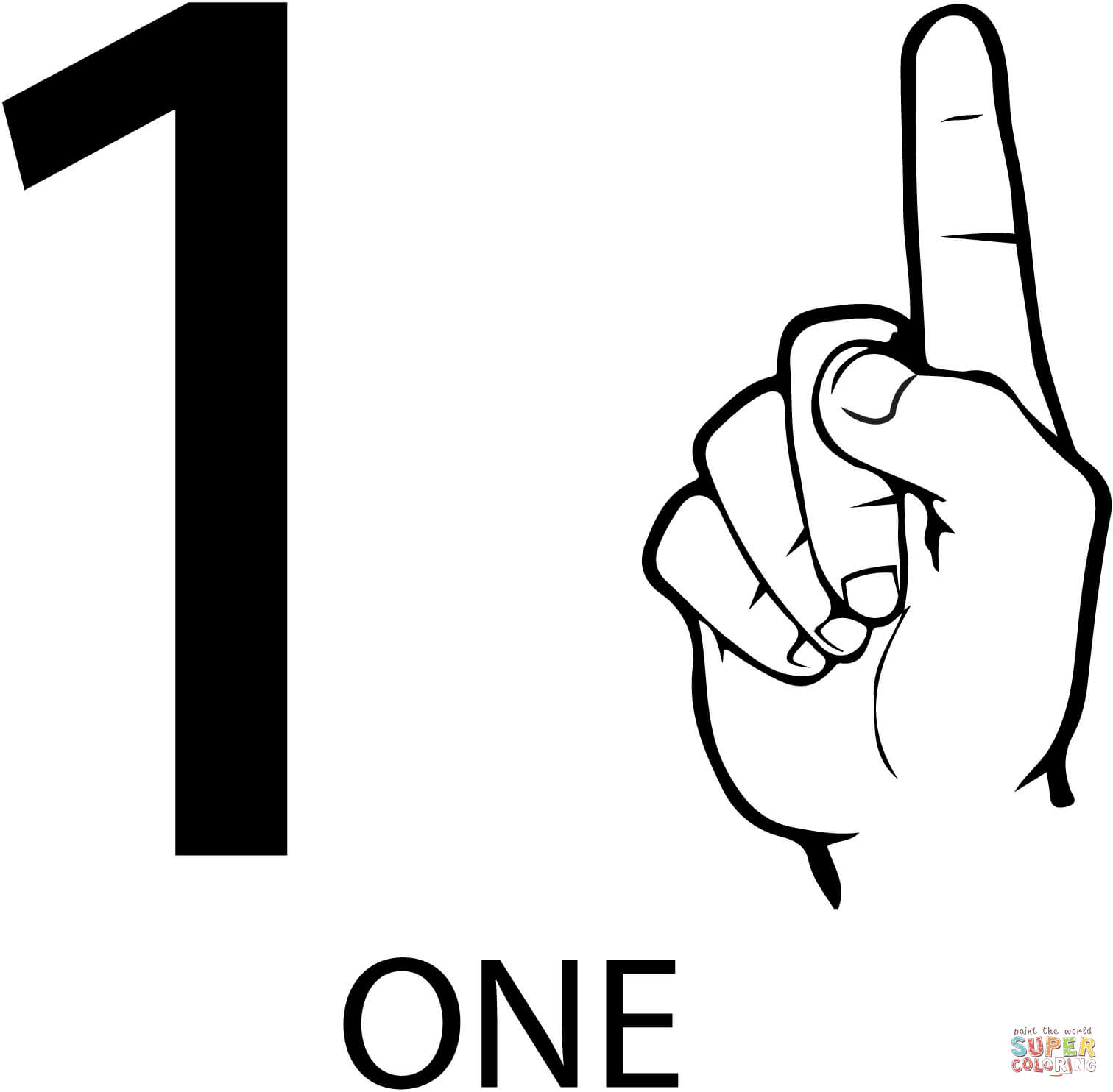 number 1 for coloring asl number one coloring page free printable coloring pages number for coloring 1