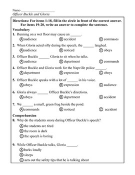 officer buckle and gloria printables comprehension quiz for officer buckle and gloria also gloria printables buckle and officer