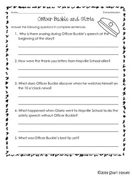 officer buckle and gloria printables officer buckle and gloria by shari hawes teachers pay printables gloria and buckle officer