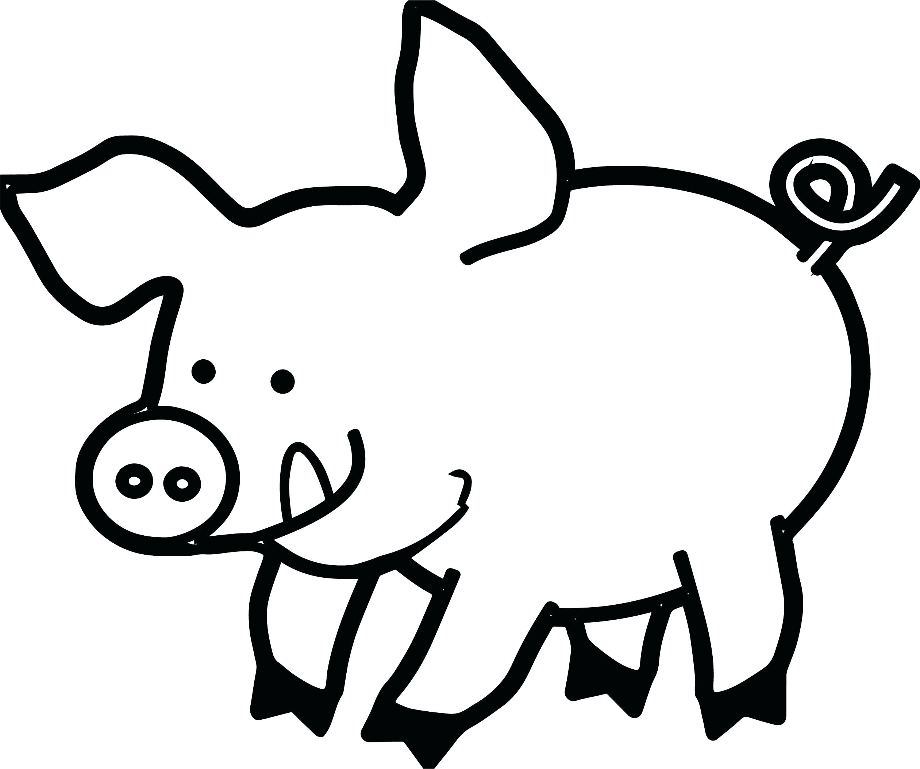pig outline pig outline clipart best pig outline