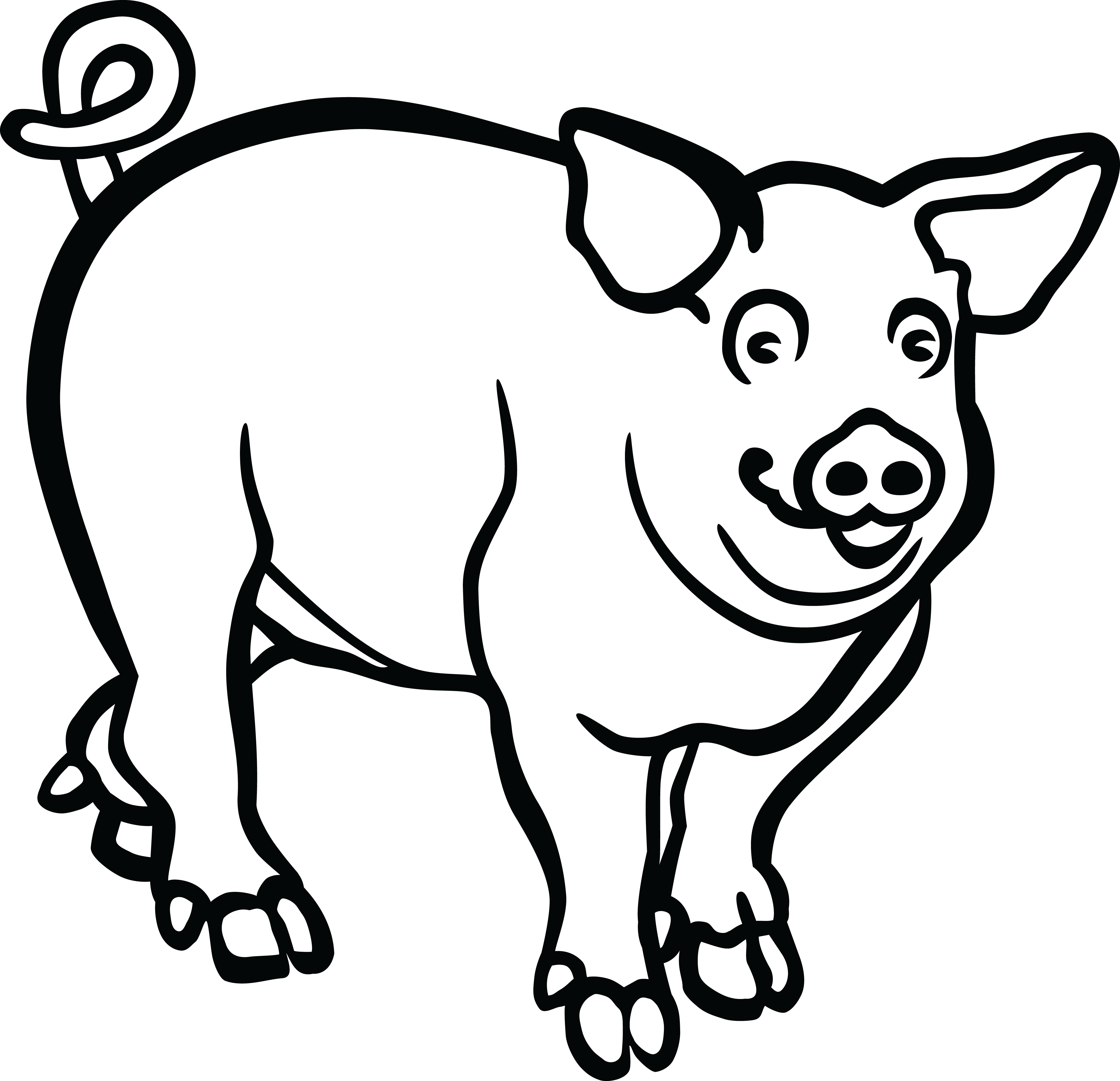 pig outline pigs clipart outline simple easy animal drawings free pig outline