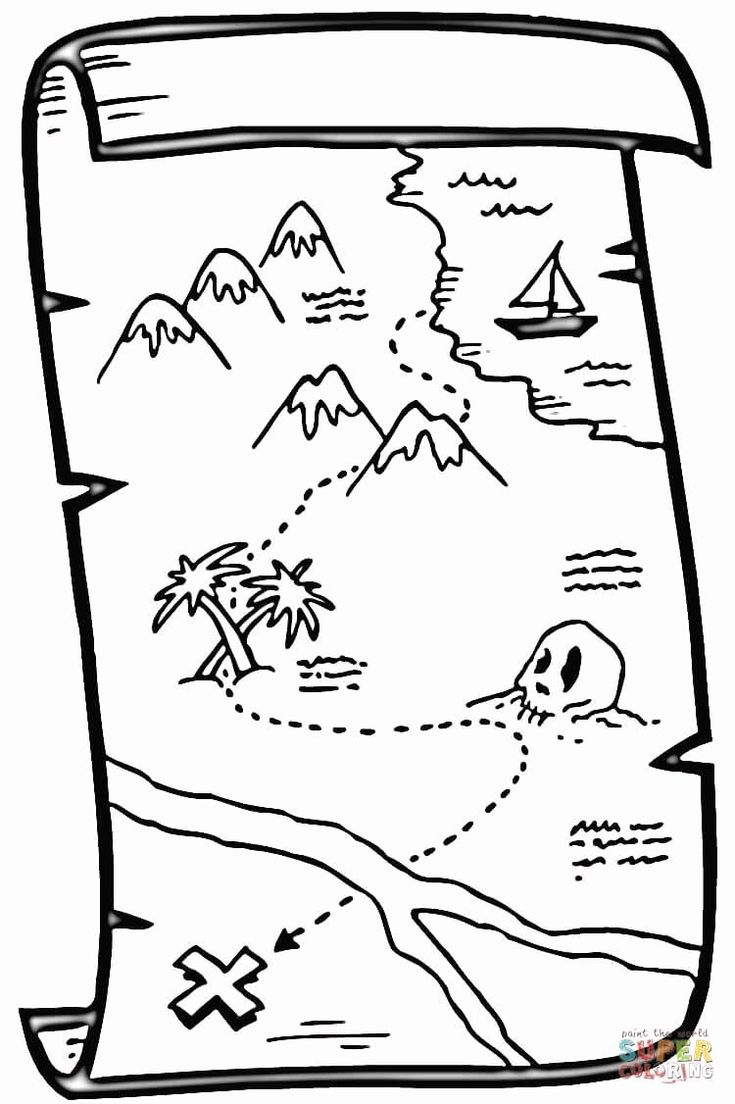 pirate map coloring page 32 treasure map coloring page in 2020 pirate maps map pirate coloring page