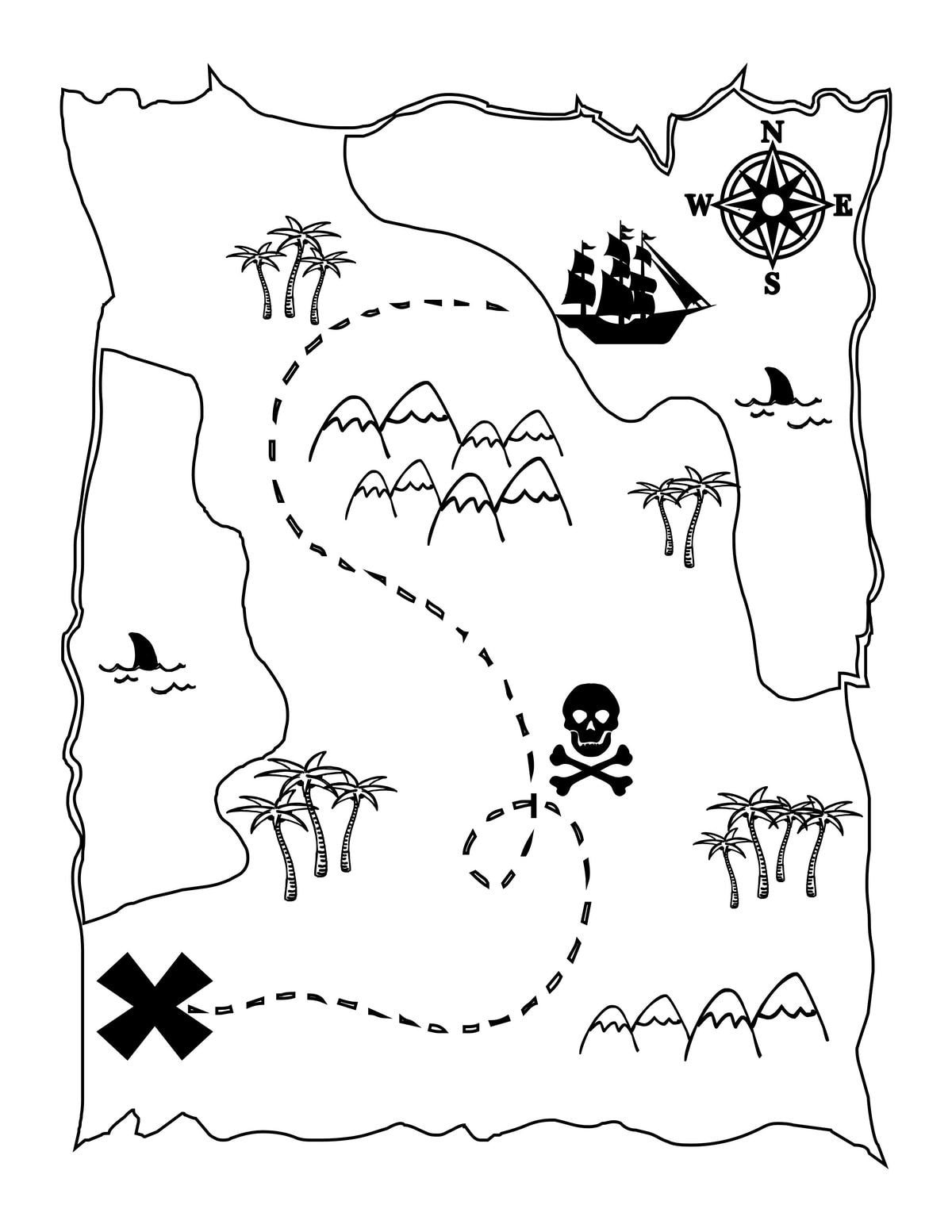 pirate map coloring page pirate map picture clipartsco pirate page map coloring