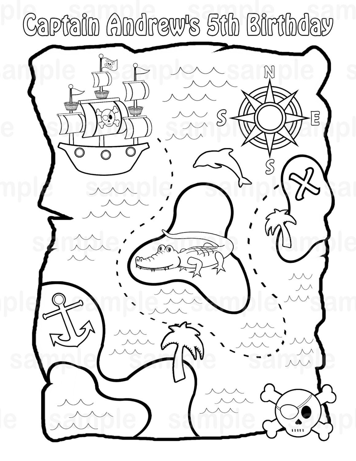 pirate map coloring page printable pirate treasure map for kids pirate treasure map page coloring pirate