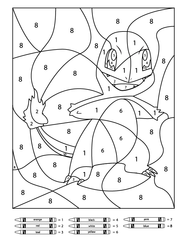 pokemon coloring by number 3 free pokemon color by number printable worksheets pokemon coloring by number