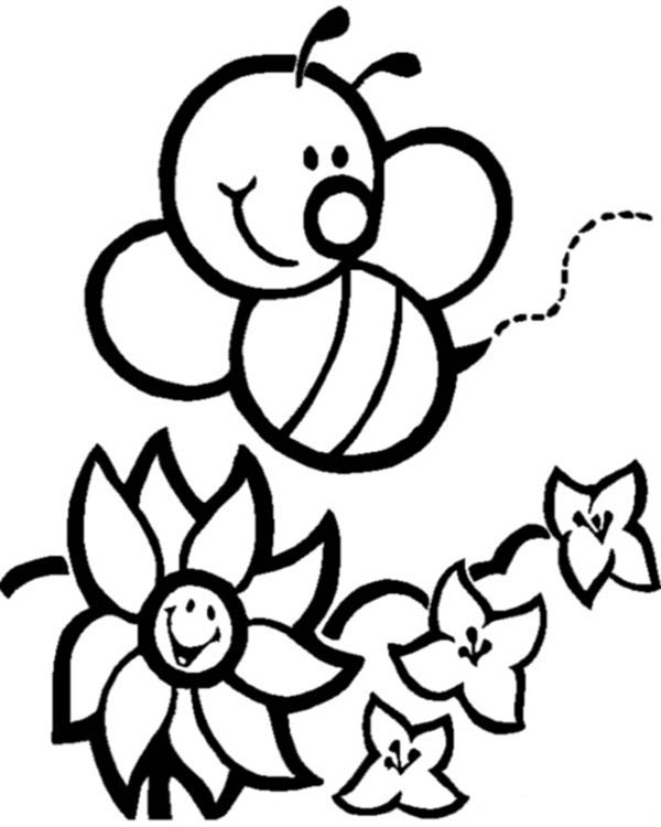 printable bumble bee coloring page happy bumblebee and flowers coloring page download page bumble printable bee coloring