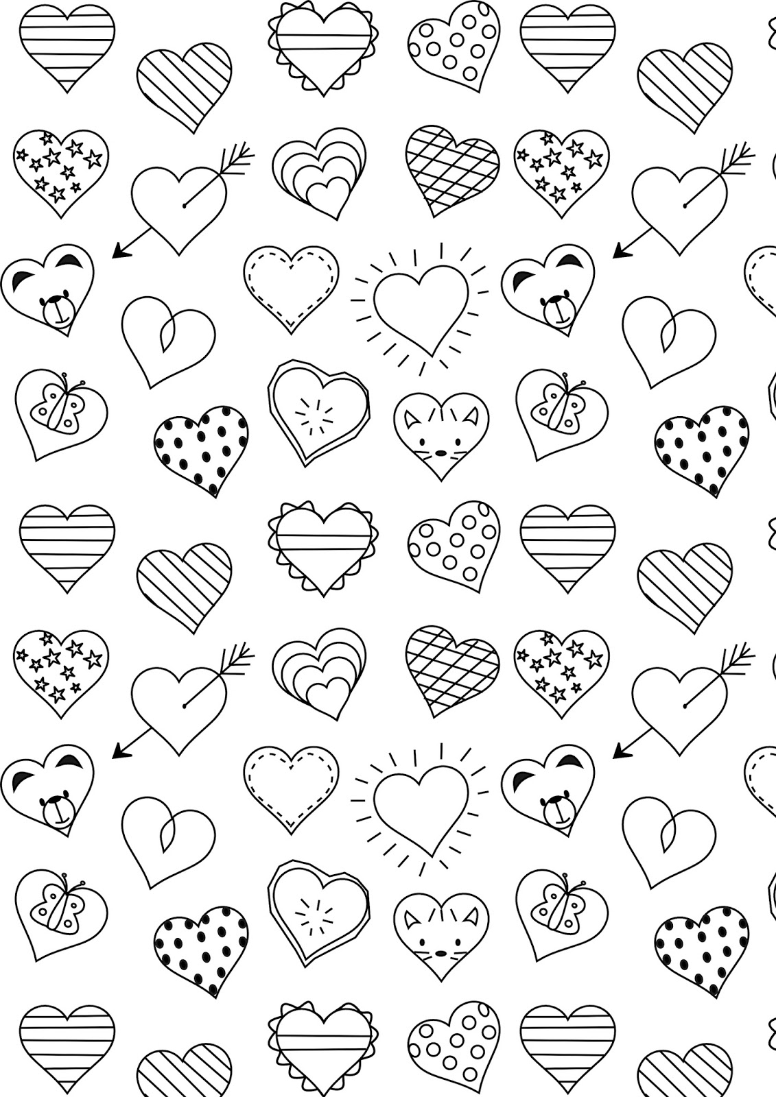 printable hearts coloring pages easy heart coloring pages for kids stripe patterns coloring hearts printable pages
