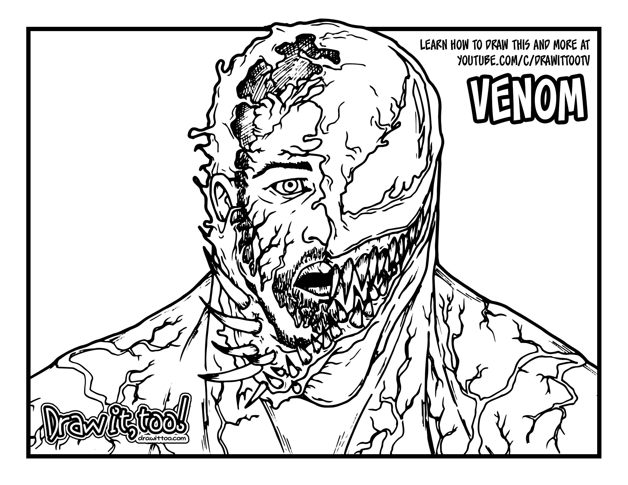 printable venom coloring pages venom face drawing at getdrawings free download venom printable coloring pages
