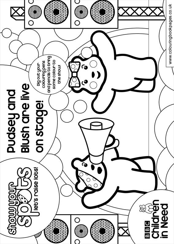 pudsey bear colouring pudsey and blush are live on stage children in need pudsey colouring bear