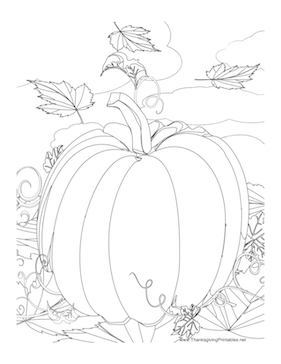 pumpkin and leaves coloring pages this thanksgiving coloring page features a giant pumpkin pumpkin coloring and leaves pages