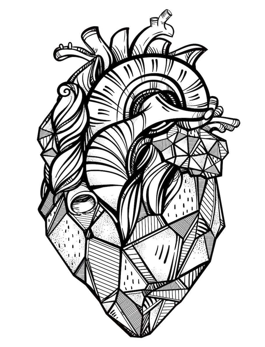 real heart coloring pages real heart doodle doodle is art geometric heart tattoo coloring real pages heart