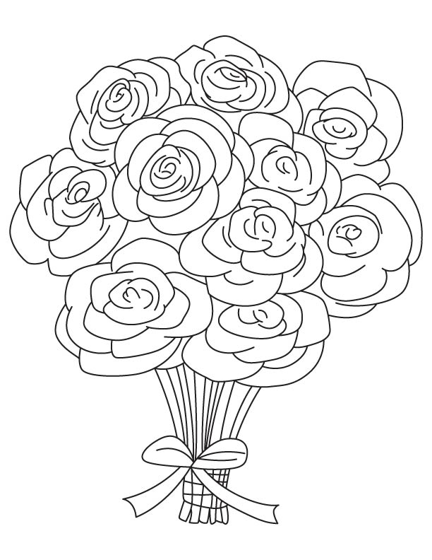 rose flower coloring pages flowers bouquet drawing at getdrawings free download rose flower coloring pages