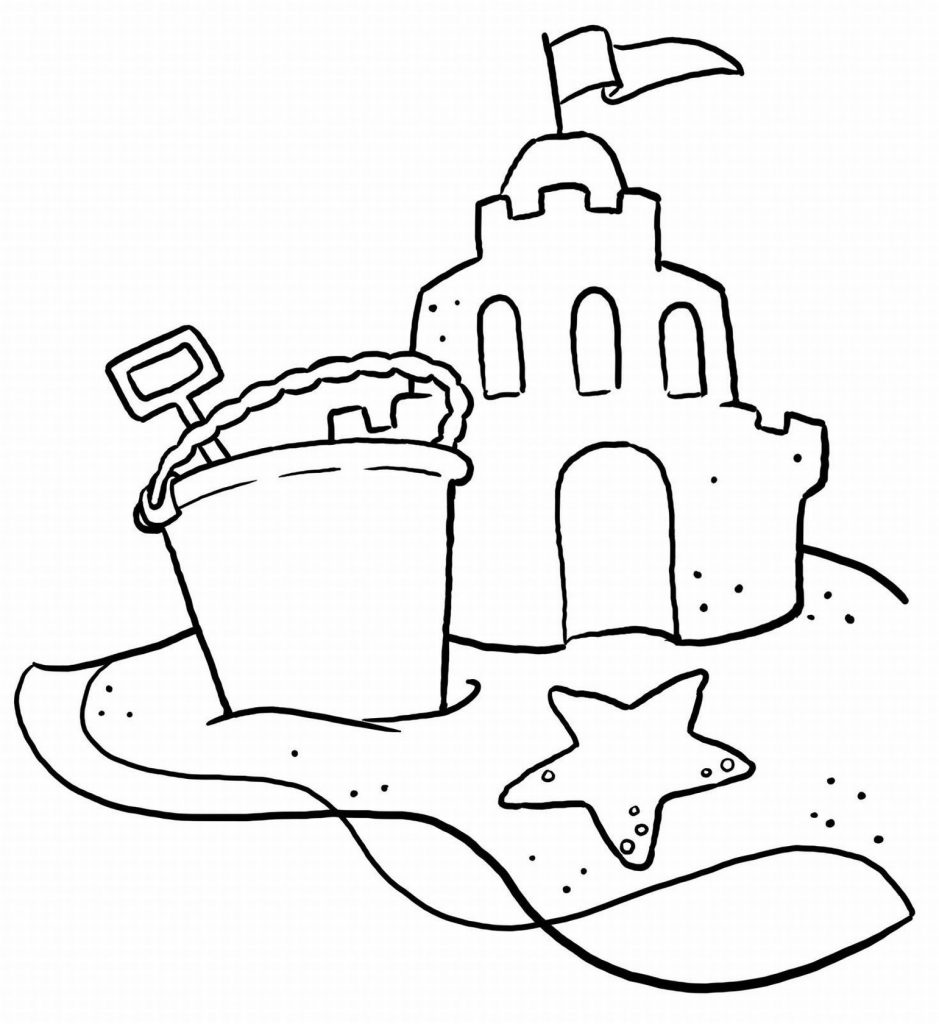 sand castle coloring sand castle on beach summer coloring picture for kids sand coloring castle