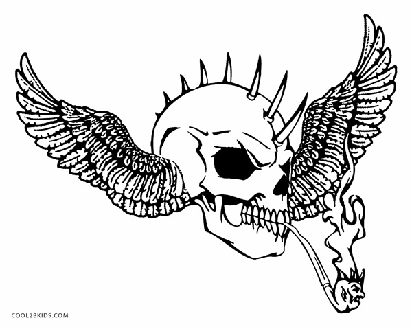 scary demon skull coloring pages evil skull with bonehawk coloring page free printable pages skull coloring demon scary