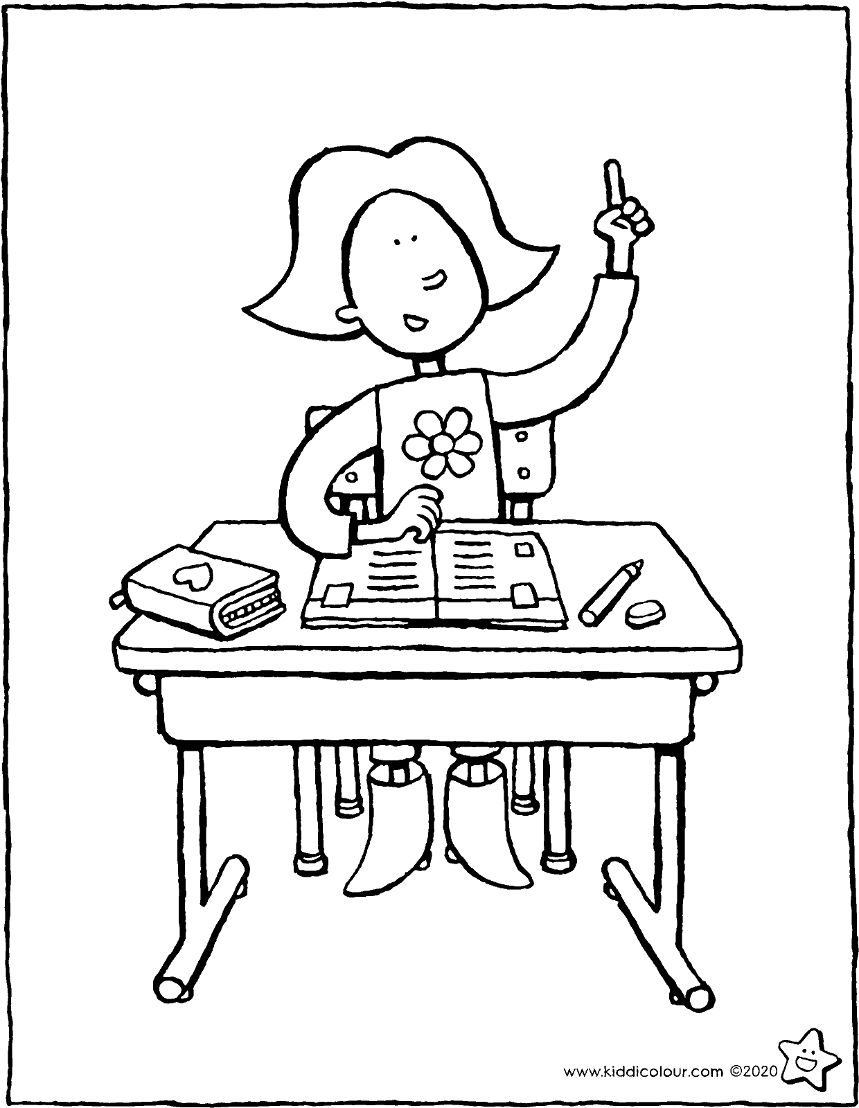 school desk coloring pages emma at her school desk kiddicolour pages coloring school desk