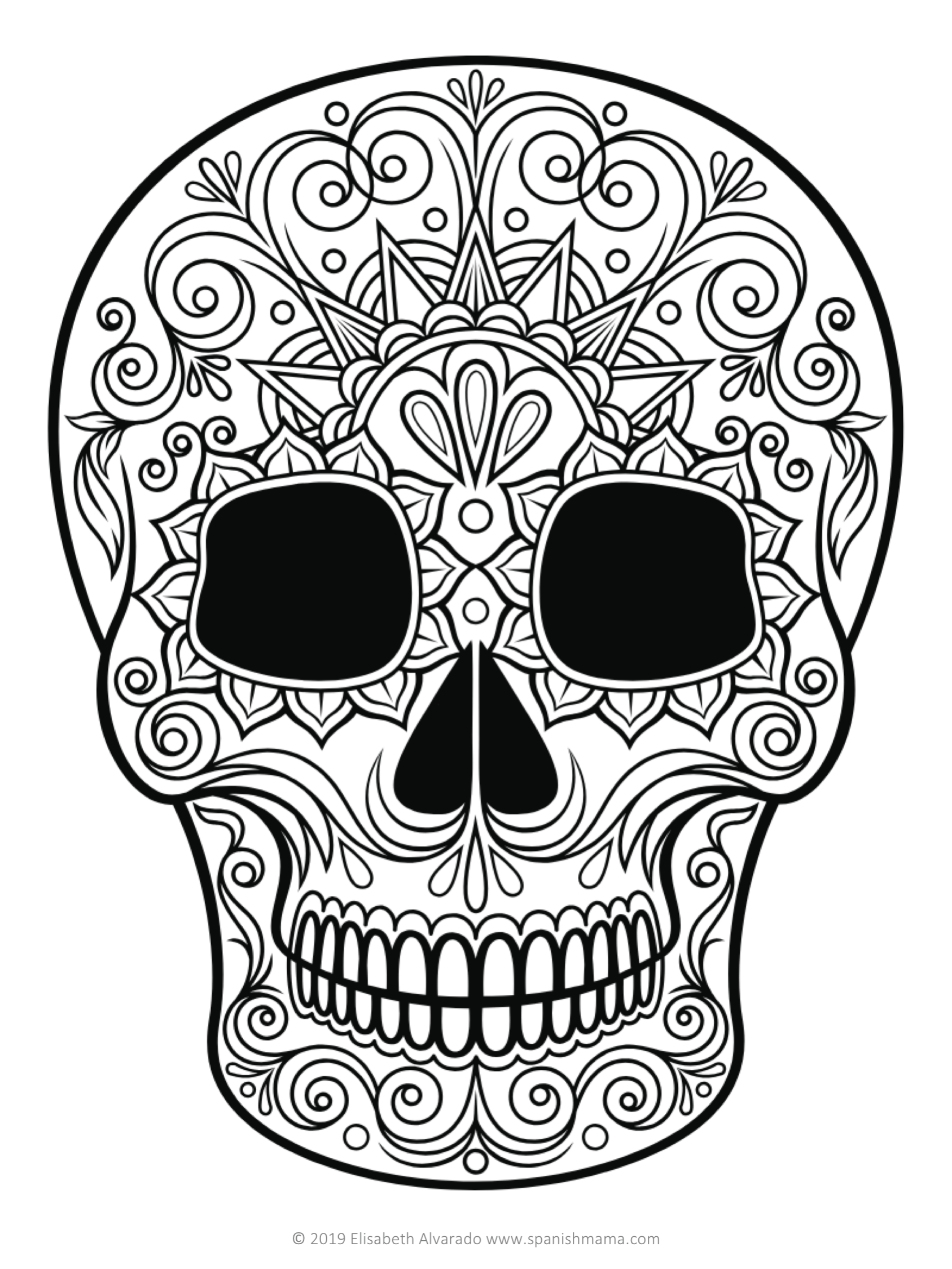 skulls to color free printable skull coloring pages for kids skulls to color 1 1