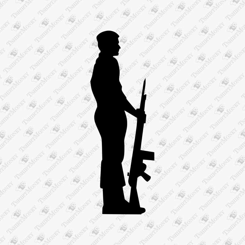 soldier silhouette army soldier rifle standing silhouette svg vector design soldier silhouette