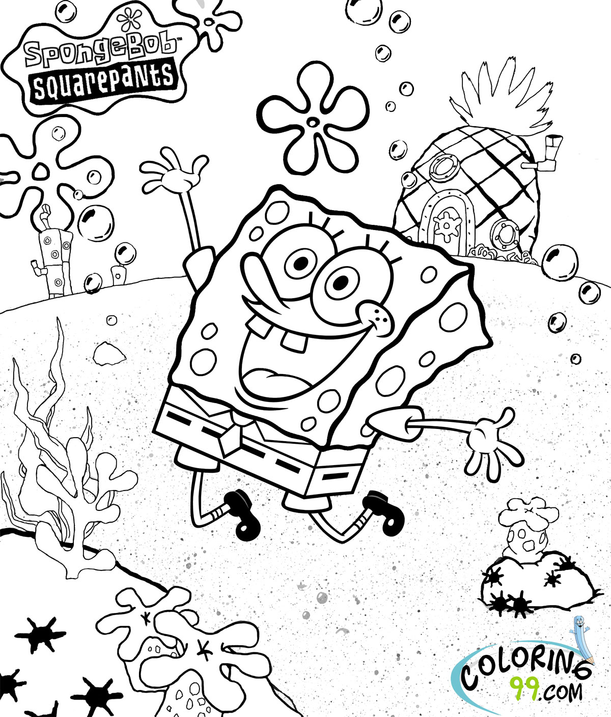 spongebob coloring pages for free coloring book pdf download pages for spongebob coloring free