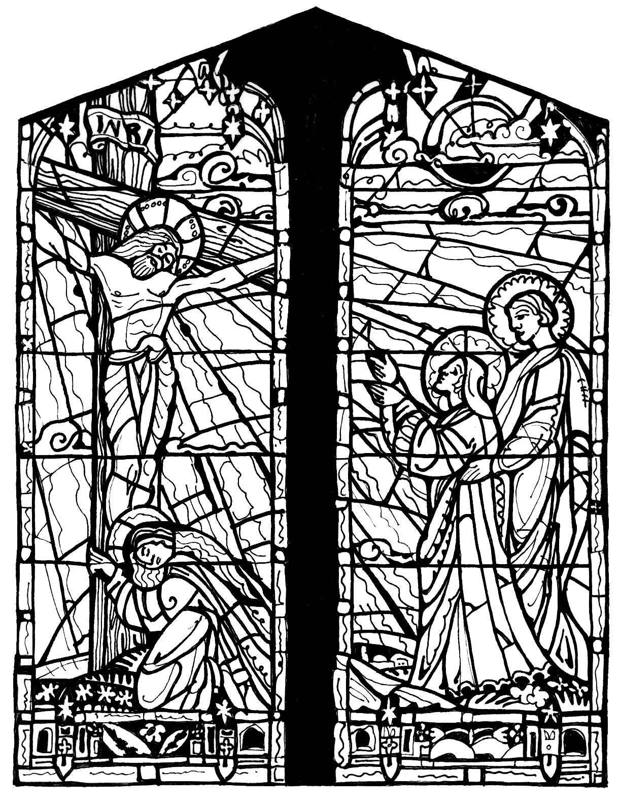 stained glass coloring pages for adults stained glass drawing art nouveau style art nouveau for stained adults pages coloring glass