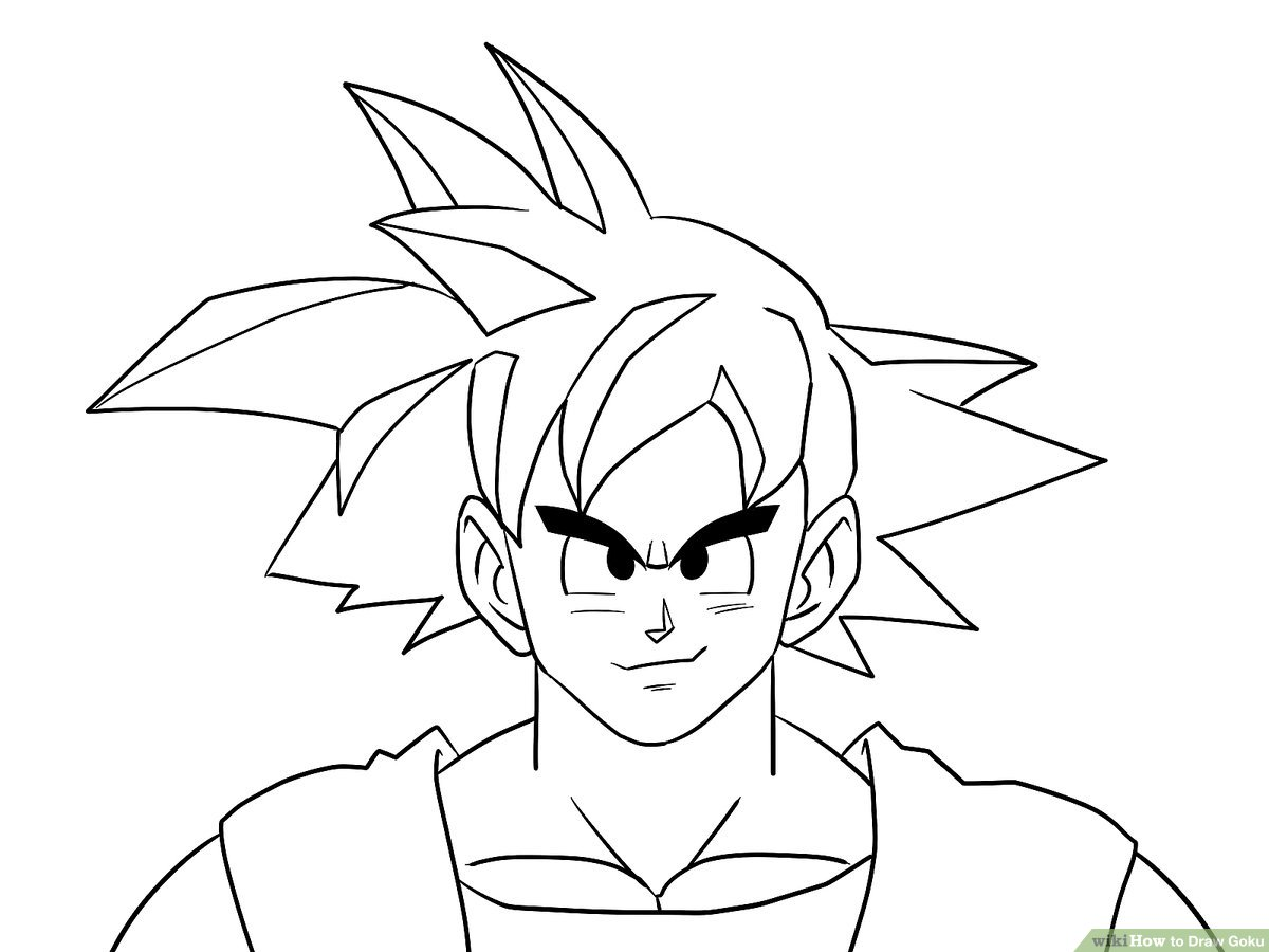 step by step drawing goku goku drawing easy at paintingvalleycom explore step by goku step drawing