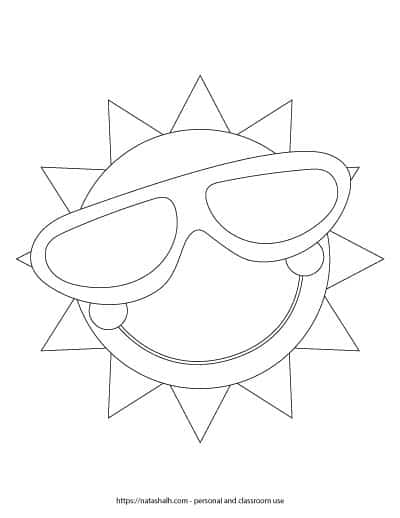 sun with sunglasses coloring page sublime sun drawing at getdrawings free download sunglasses coloring sun with page