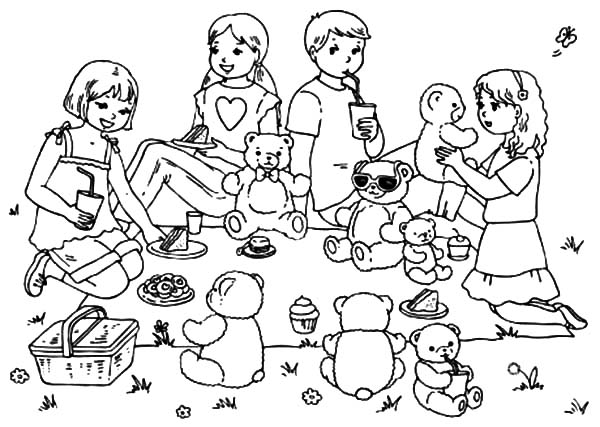 teddy bear picnic coloring pages bring your teddy bears at family picnic coloring pages coloring bear teddy picnic pages
