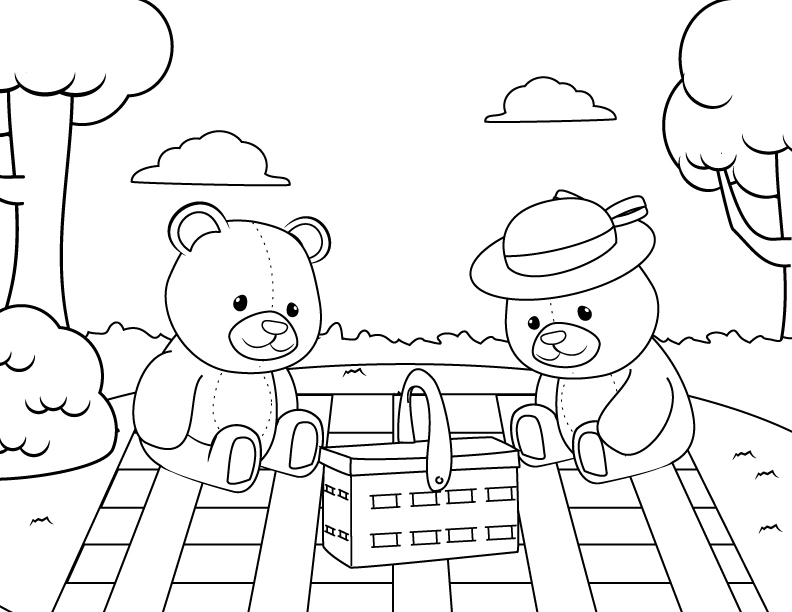 teddy bear picnic coloring pages little girl going picnic with her teddy bear coloring page pages bear teddy coloring picnic