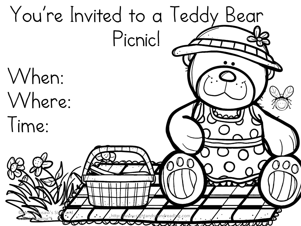 teddy bear picnic coloring pages teddy bear picnic coloring page coloring pages for kids teddy picnic coloring bear pages