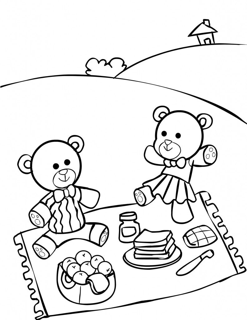 teddy bear picnic coloring pages teddy bears picnic coloring page netart bear pages coloring teddy picnic