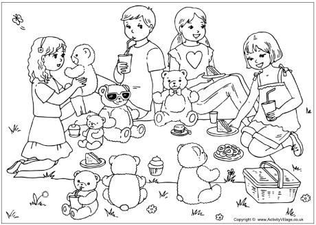 teddy bear picnic coloring pages teddy bears39 picnic colouring page picnic teddy bear pages coloring