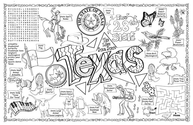 texas symbols coloring pages gallopade international texas symbols facts funsheet symbols coloring texas pages