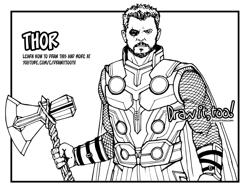 thor coloring pages how to draw thor avengers infinity war drawing tutorial thor pages coloring