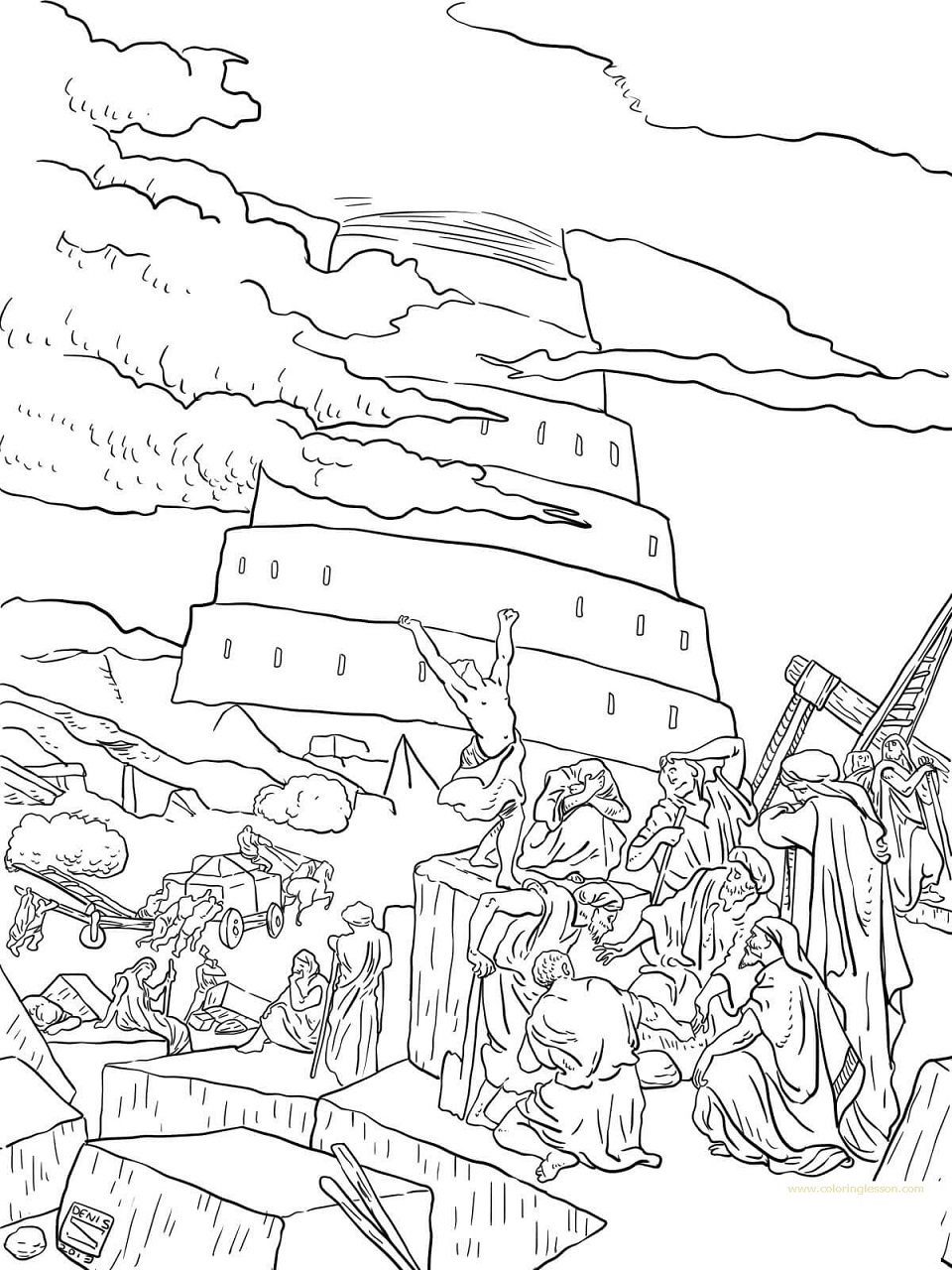 tower of babel coloring pages for kids two man tower of babel coloring page kids play color tower of for coloring kids pages babel