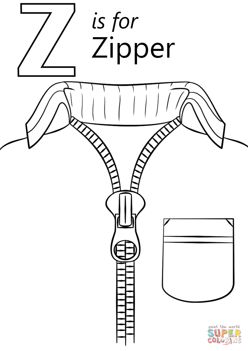 z is for zipper coloring page letter z writing and coloring sheet for is zipper coloring page z