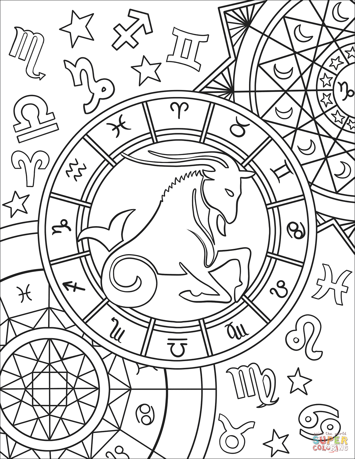 zodiac coloring pages art therapy coloring page astrology signs of zodiac 15 coloring zodiac pages