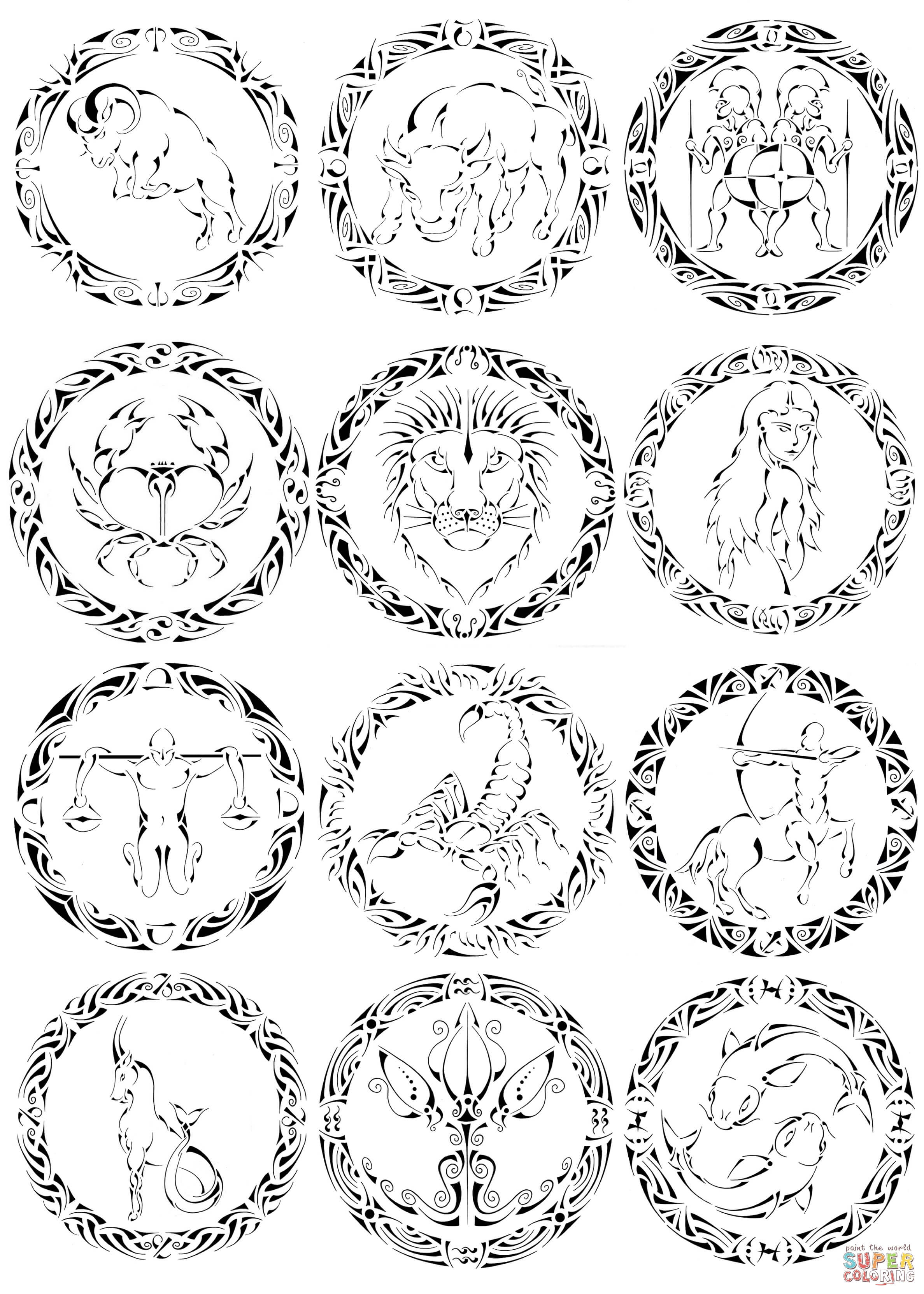 zodiac coloring pages zodiac signs coloring pages coloring pages to download pages zodiac coloring