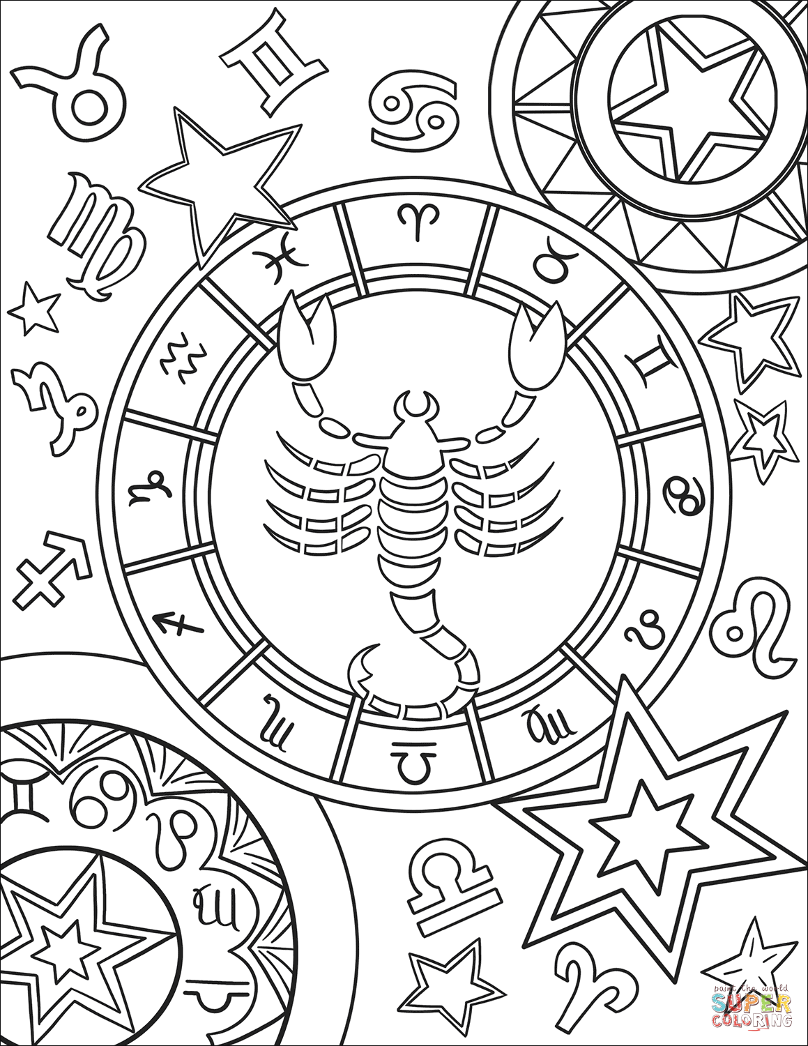 zodiac coloring pages zodiac signs coloring pages kidsuki zodiac coloring pages